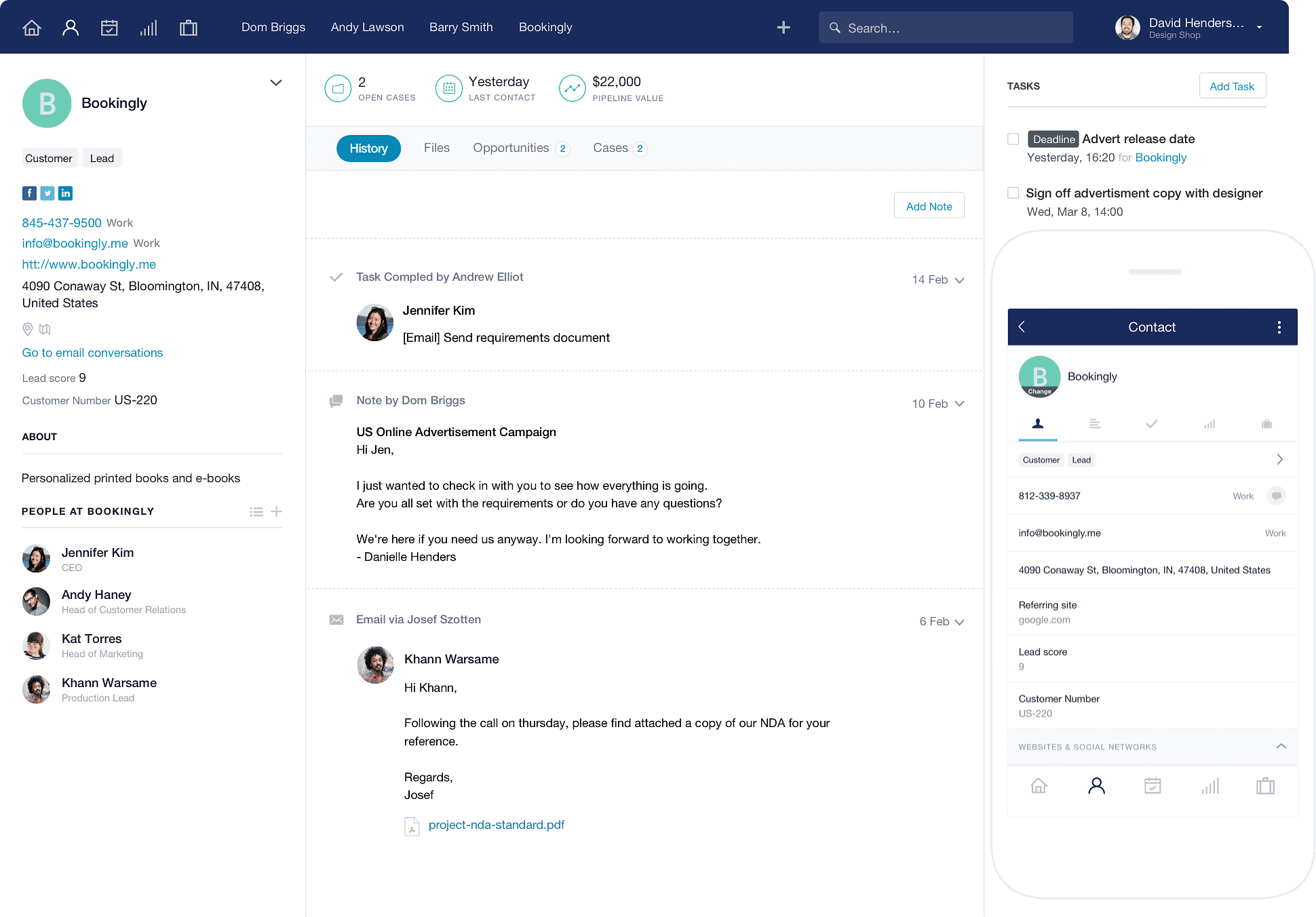 Contact profile page