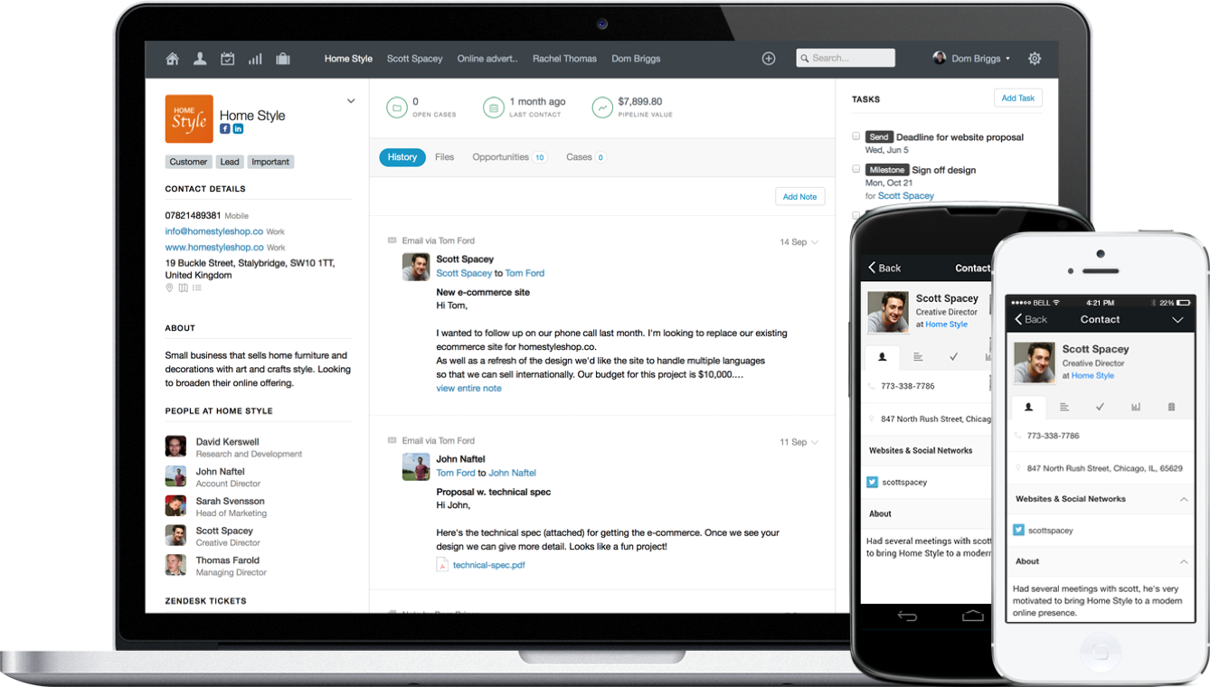 Capsule CRM for desktop and mobile