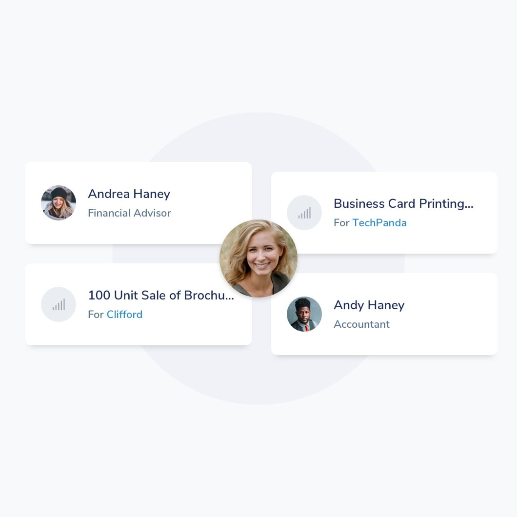 4 cards with client details connected to one user
