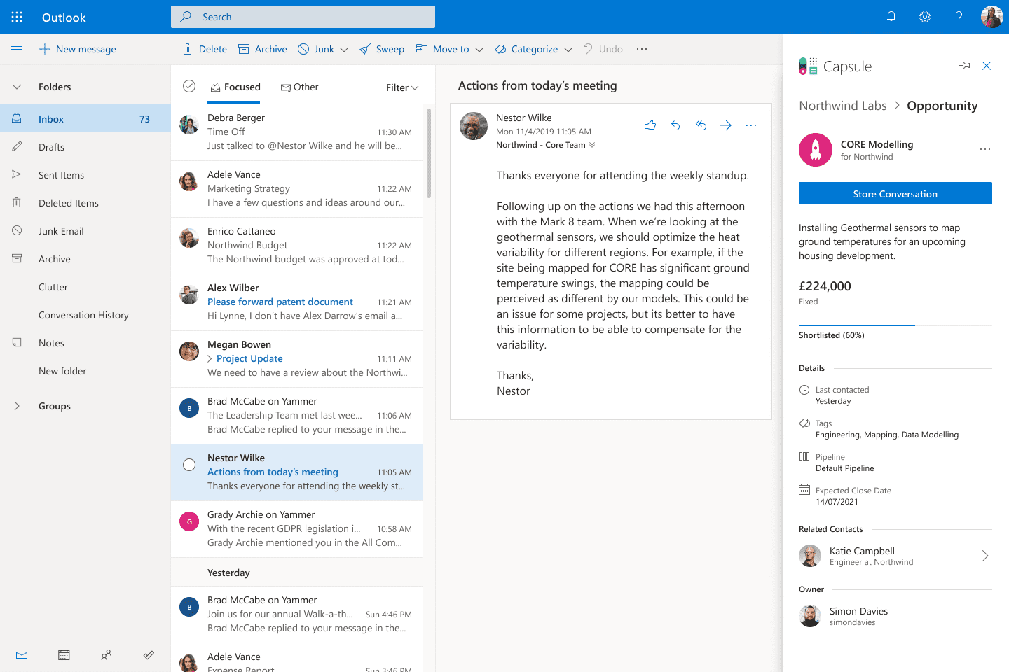 example of Capsule opportunity in Outlook