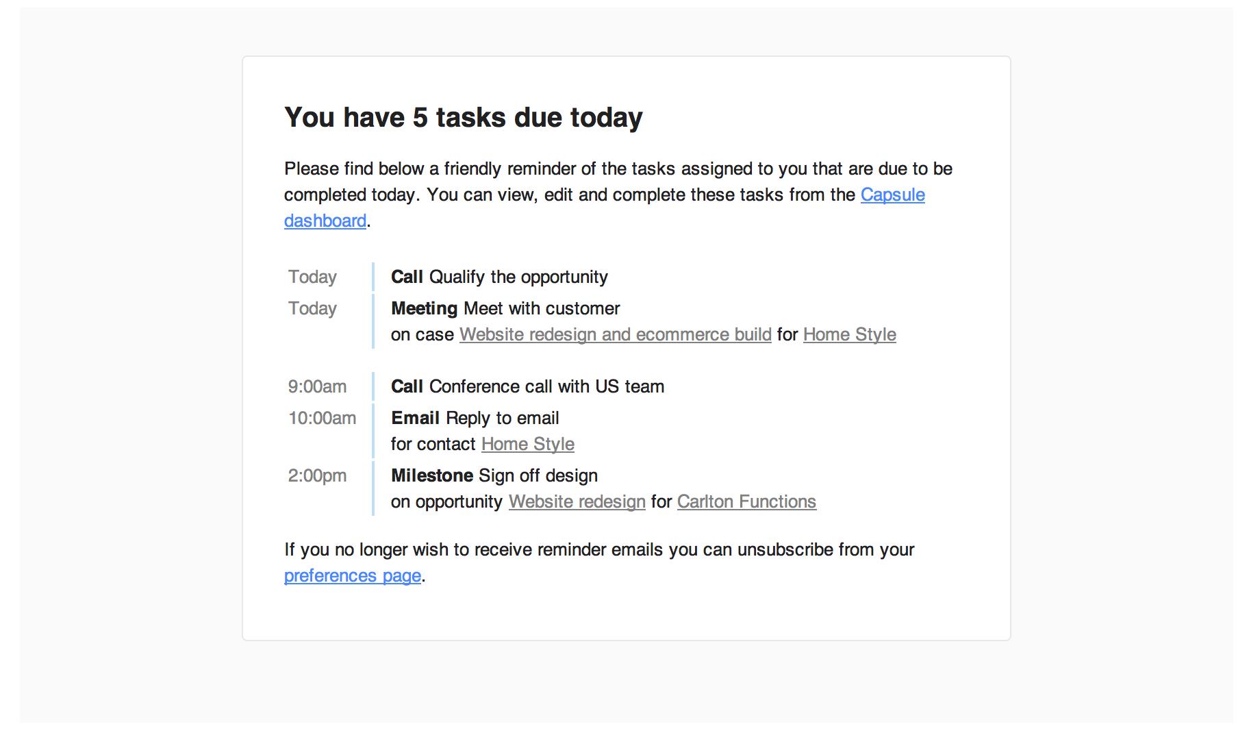 Improved task reminder emails | Capsule CRM