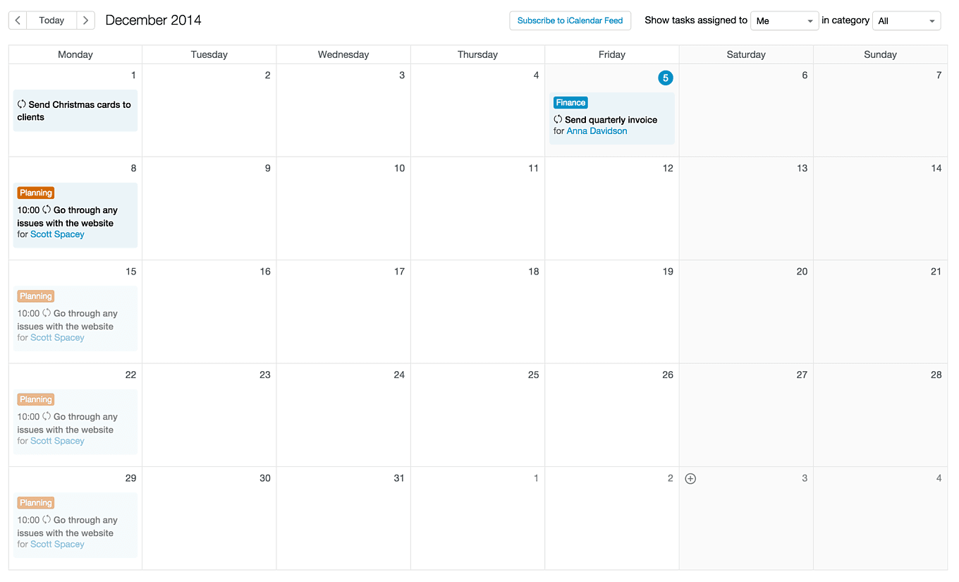 Forecasted tasks on the Capsule calendar