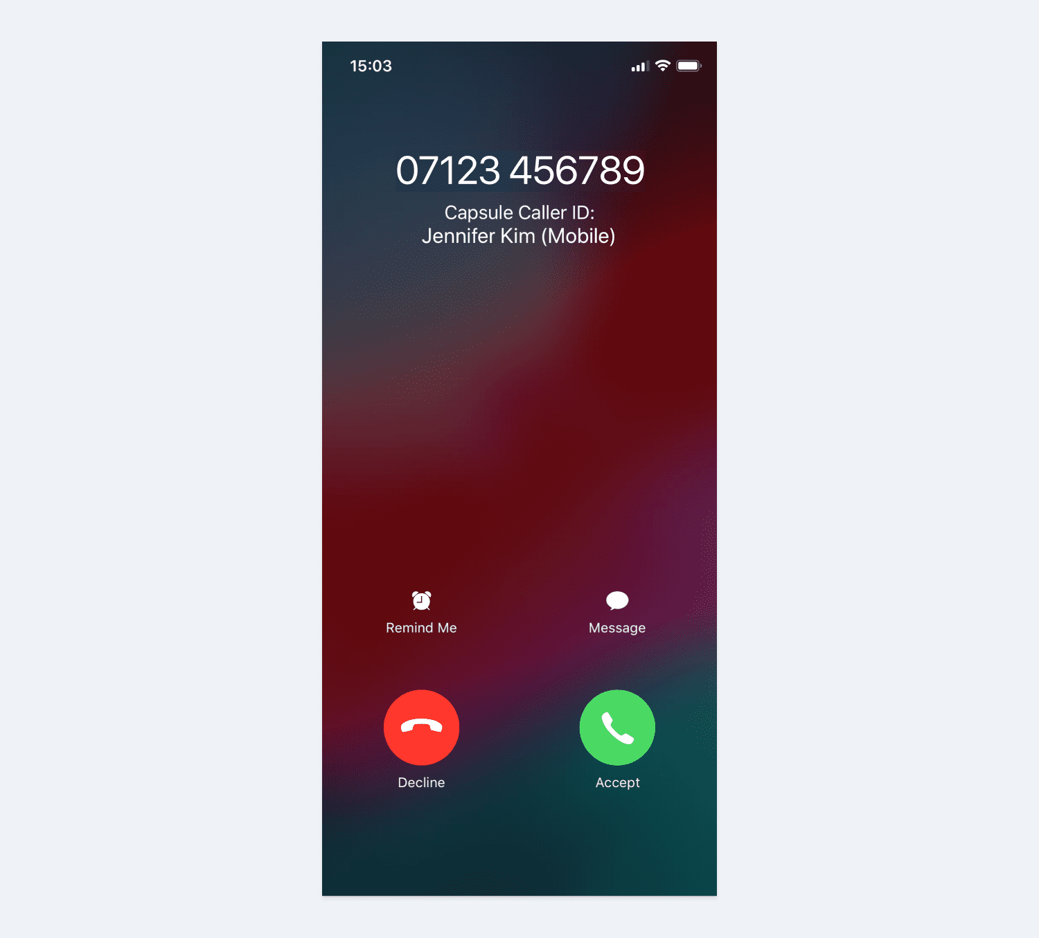 screenshot from mobile of incoming call